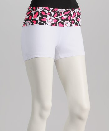 White & Pink Leopard Hello Kitty Yoga Shorts - Women