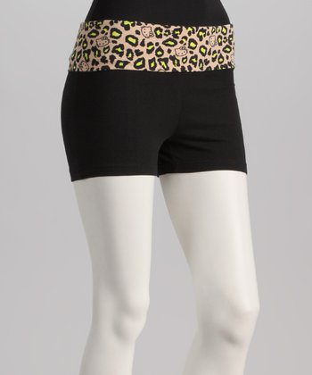 Black & Yellow Leopard Hello Kitty Yoga Shorts - Women