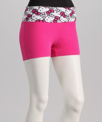 Hot Pink Hello Kitty Yoga Shorts - Women