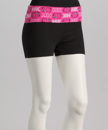 Black & Pink Hello Kitty Logo Yoga Shorts - Women