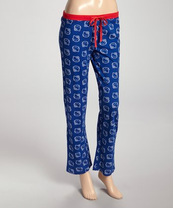 Navy & Red Print Pajama Pants - Women