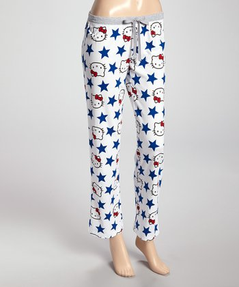 White & Navy Print Pajama Pants - Women