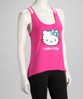 Pink Crocheted Detail Hello Kitty Racerback Tank - Women