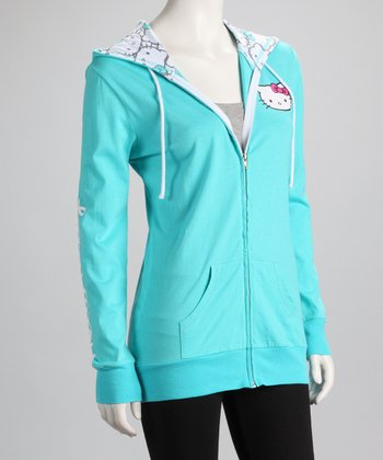 Aqua Hello Kitty Zip-Up Hoodie - Women