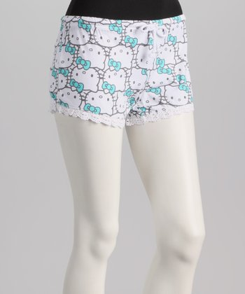Aqua & White Crocheted Hem Hello Kitty Boxers - Women
