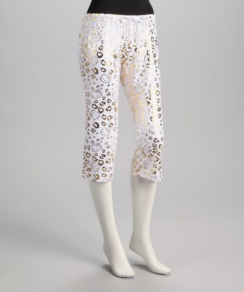 White & Gold Metallic Leopard Hello Kitty Pajama Pants - Women