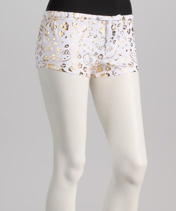 White & Gold Metallic Leopard Hello Kitty Boxers - Women