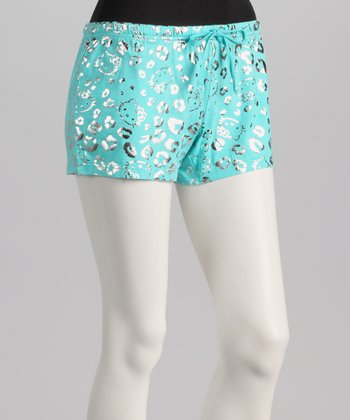 Aqua & Gold Metallic Leopard Hello Kitty Boxers - Women