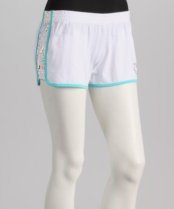 White & Aqua Hello Kitty Boxers - Women