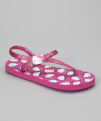 Pink Hello Kitty Glitter Gladiator Flip-Flop