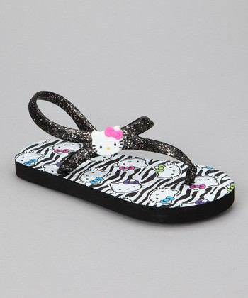 Black Hello Kitty Glitter Ankle-Strap Flip-Flop - Girls