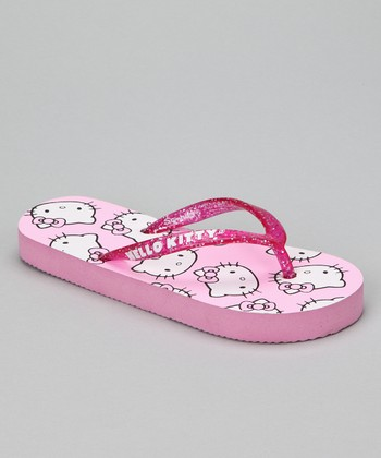 Pink Glitter Hello Kitty Flip-Flop