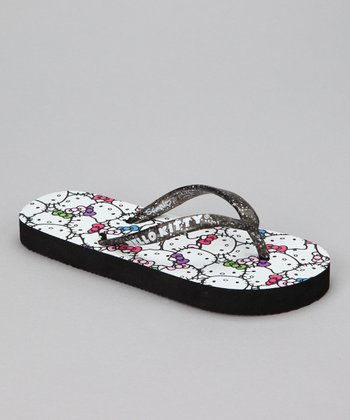 Black Glitter Hello Kitty Flip-Flop - Girls
