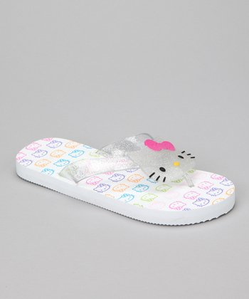 White Hello Kitty Face Flip-Flop