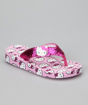 Pink Hello Kitty Glitter Wedge Flip-Flop