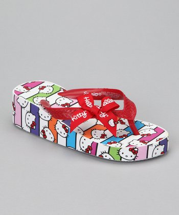 Red Hello Kitty Bow Wedge Flip-Flop