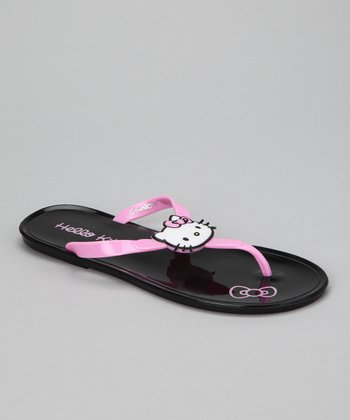 Black Hello Kitty Jelly Flip-Flop