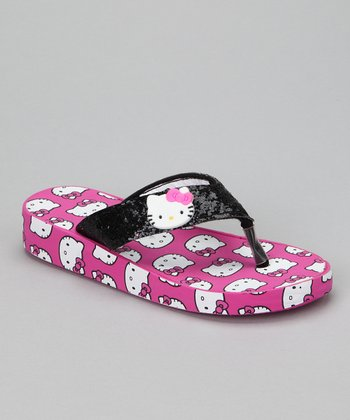 Black & Pink Hello Kitty Glitter Wedge Flip-Flop - Girls