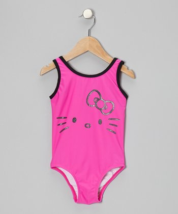 Pink Glitter Face Hello Kitty One-Piece - Toddler & Girls