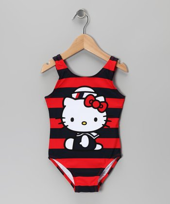 Red & Black Stripe Hello Kitty One-Piece - Infant & Toddler