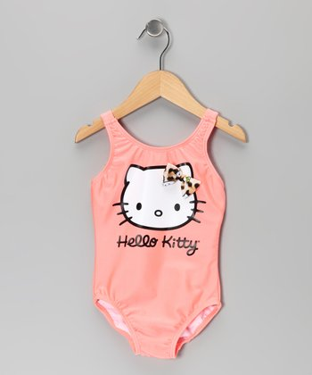 Coral Hello Kitty V-Back One-Piece - Infant, Toddler & Girls