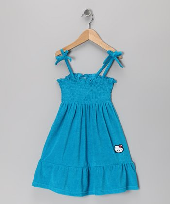 Turquoise Terry Gathered Sundress - Toddler