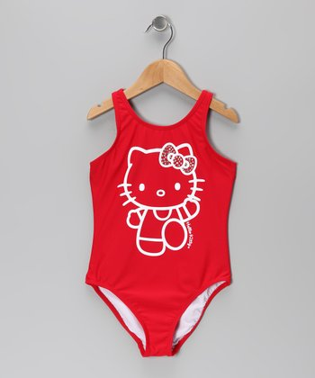 Red Rhinestone Hello Kitty One-Piece - Toddler