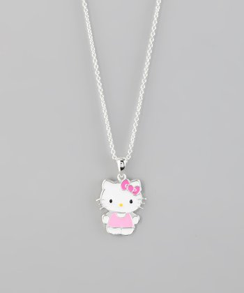 Pink Hello Kitty Tank Silver Pendant Necklace