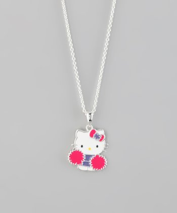Silver Hello Kitty Cheerleader Pendant Necklace