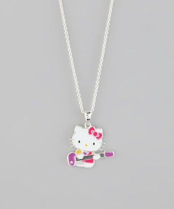 Silver Hello Kitty Guitar Pendant Necklace