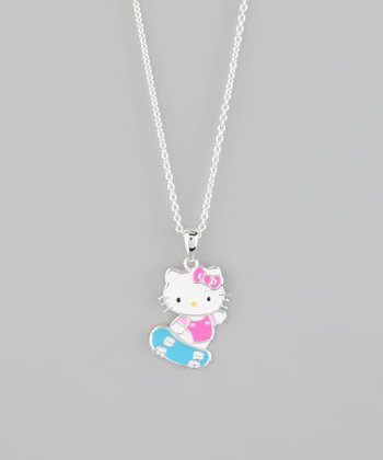 Silver Hello Kitty Skateboard Pendant Necklace