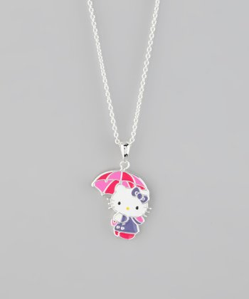Silver Hello Kitty Umbrella Pendant Necklace