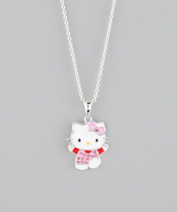 Silver Crystal Hello Kitty Pendant Necklace