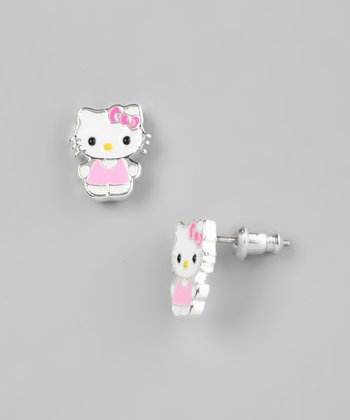Pink Hello Kitty Silver Stud Earrings