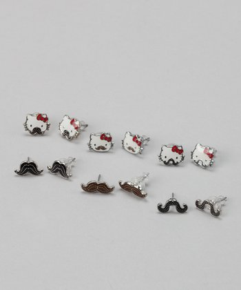 Hello Kitty Mustache Stud Earring Set