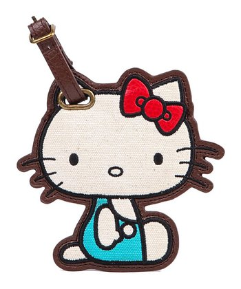 Teal Hello Kitty Vintage Luggage Tag
