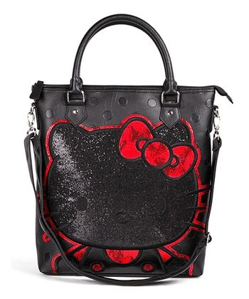 Black Embossed Polka Dot Glitter Tote
