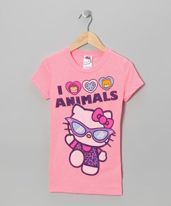 Rose 'I Love Animals' Hello Kitty Tee - Girls