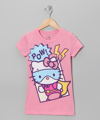 Light Pink 'Pow' Hello Kitty Tee - Girls