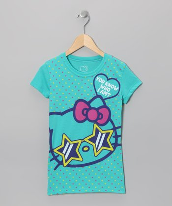 Turquoise Star Hello Kitty Tee - Girls