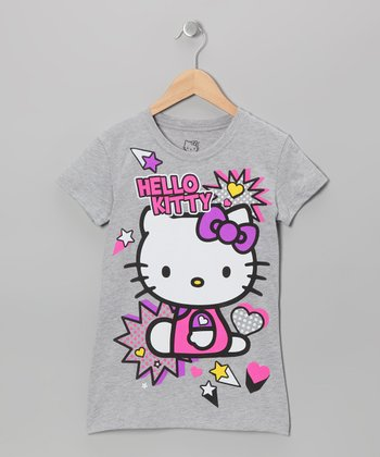 Gray & Pink 'Hello Kitty' Tee - Girls