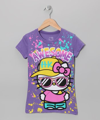 Grape Soda 'Awesome' Hello Kitty Tee - Girls