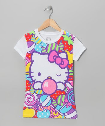 White & Pink Bubblegum Hello Kitty Tee - Girls