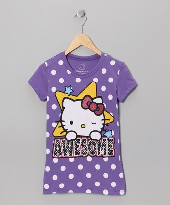 Grape Soda 'Awesome' Wink Hello Kitty Tee - Girls