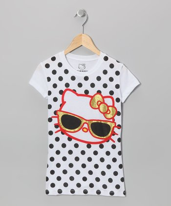 Black Polka Dot Sunglasses Hello Kitty Tee - Girls