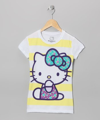 Yellow Stripe Hello Kitty Tee - Girls