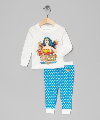 White & Aqua Wonder Woman Pajama Set - Infant