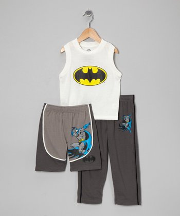 White & Gray Batman Pajama Set - Toddler