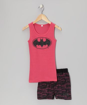 Hot Pink Batgirl Tank Pajama Set - Girls