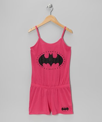 Hot Pink Batgirl Pajama Romper - Girls